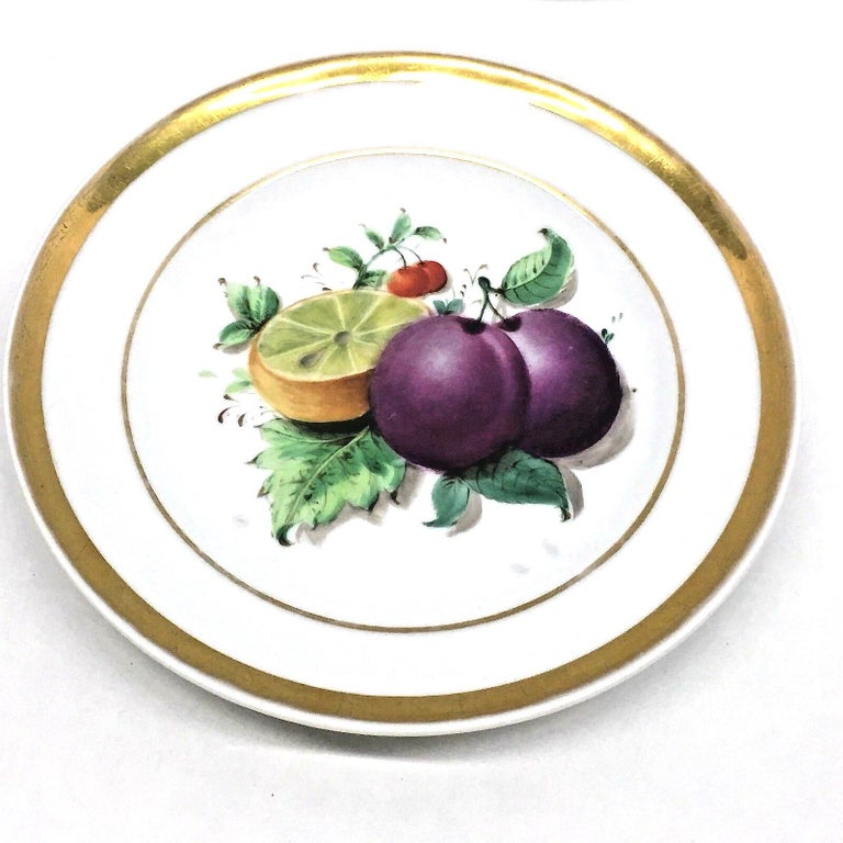 Porcelain 19th Century Hand Painted Fruits Motif Plates, Set of Six, 1860s Thuringia For Sale