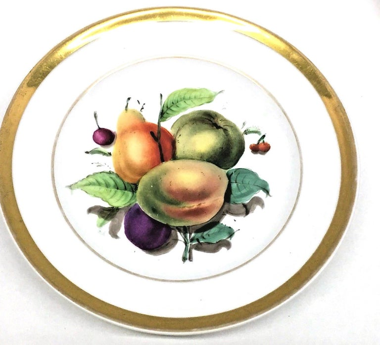 19th Century Hand Painted Fruits Motif Plates, Set of Six, 1860s Thuringia For Sale 1