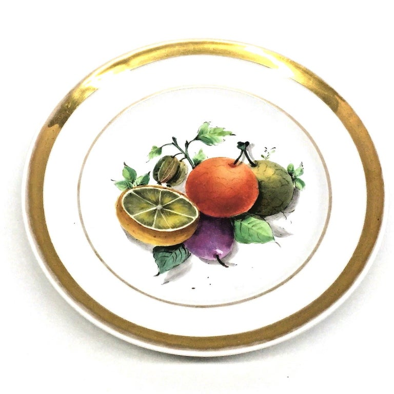 19th Century Hand Painted Fruits Motif Plates, Set of Six, 1860s Thuringia For Sale 2