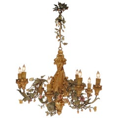 19th Century Hand Painted Iron and Painted Porcelain Flower Chandelier
