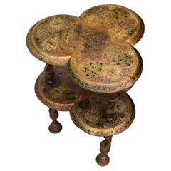 19th Century Hand Painted Kashmiri Polychrome-Lacquered Table