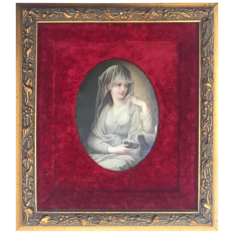 19th century hand painted oval German porcelain plaque KPM?  German porcelain plaque of the Vestal Virgin after the painting by Angelica Kauffman (Swiss 1741-1807). It depicts a young maiden dressed in a white gown, holding an oil lamp on her lap.