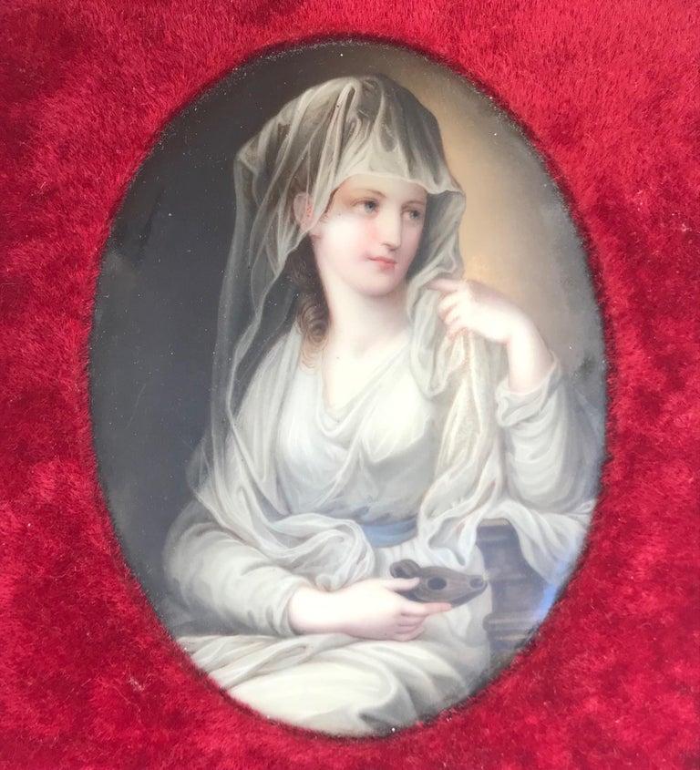 Belle Époque 19th Century Hand Painted Oval German Porcelain Plaque KPM For Sale