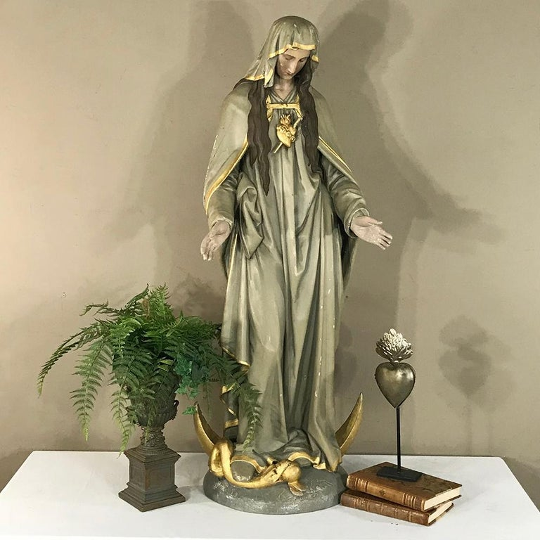 19th Century Hand-Painted Polychrome Madonna For Sale 3