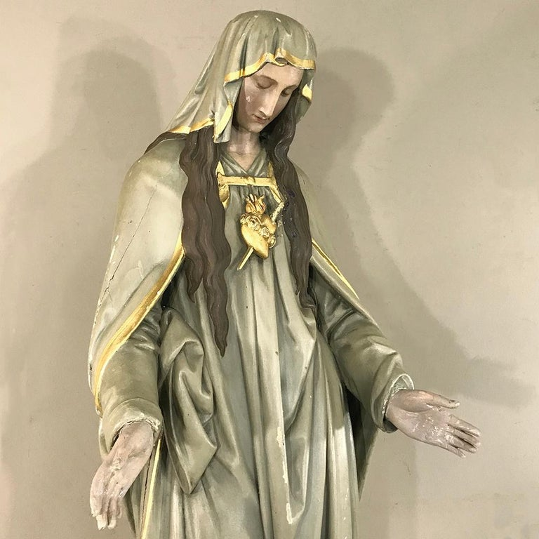 19th Century Hand-Painted Polychrome Madonna In Good Condition For Sale In Dallas, TX