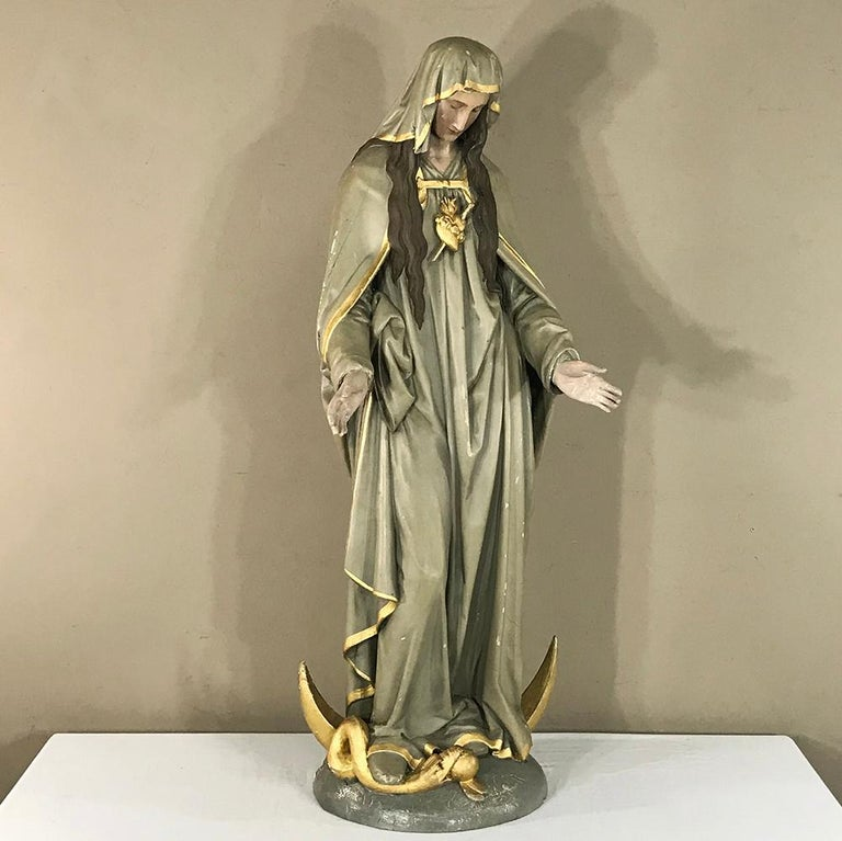 Wood 19th Century Hand-Painted Polychrome Madonna For Sale