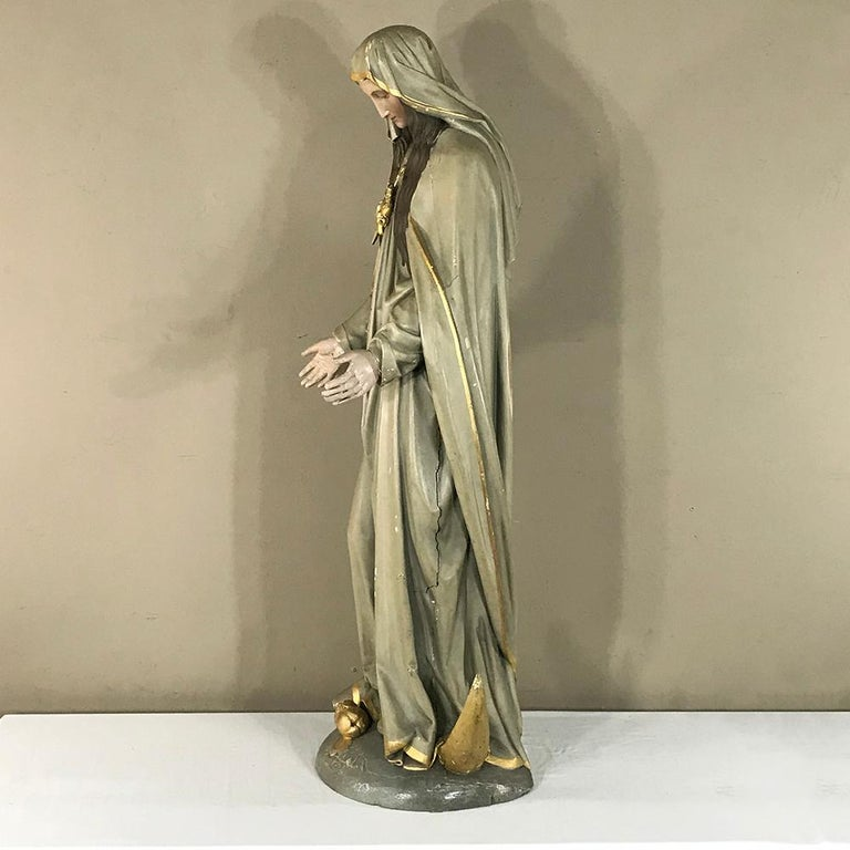 19th Century Hand-Painted Polychrome Madonna For Sale 1