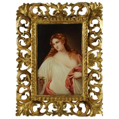 """19th Century Hand-Painted Porcelain Plaque, """"Flora"""" after Titian Signed by Rau"""