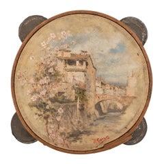 19th Century Hand-Painted Spanish Tambourine with Signature