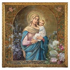 19th Century Hand Painted Tapestry Depicting Madonna with a Child