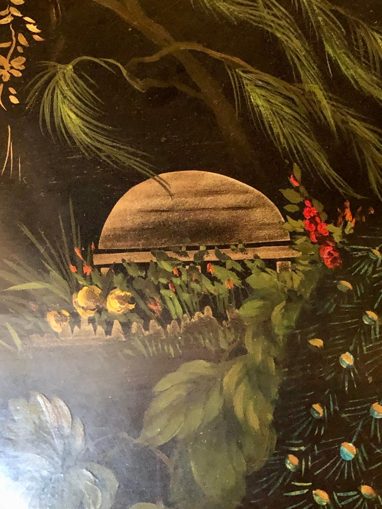 19th Century Hand Painted Tole Serving Tray, Platter In Good Condition For Sale In Stamford, CT