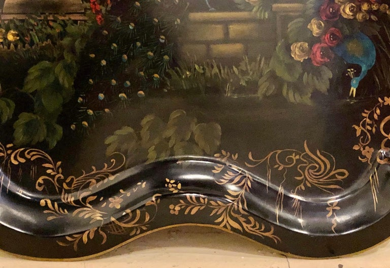 Metal 19th Century Hand Painted Tole Serving Tray, Platter For Sale