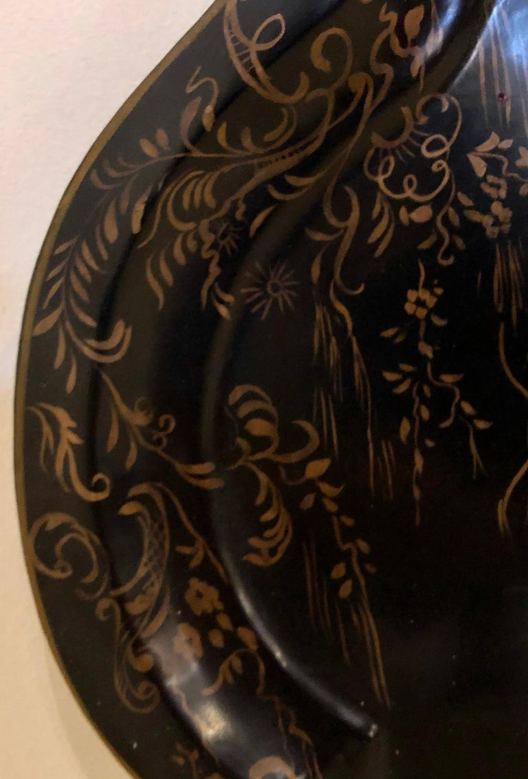 19th Century Hand Painted Tole Serving Tray, Platter For Sale 1
