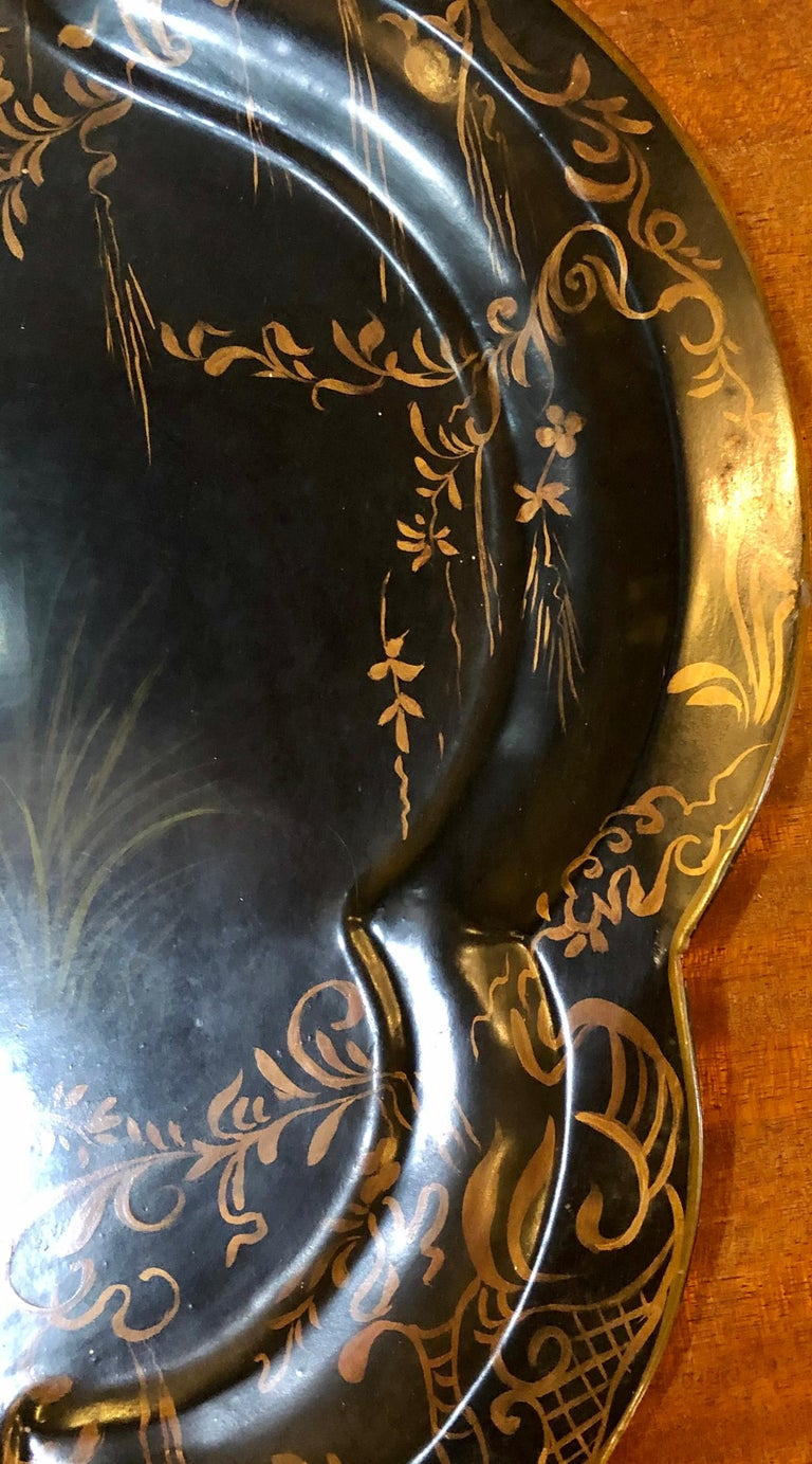 19th Century Hand Painted Tole Serving Tray, Platter For Sale 3