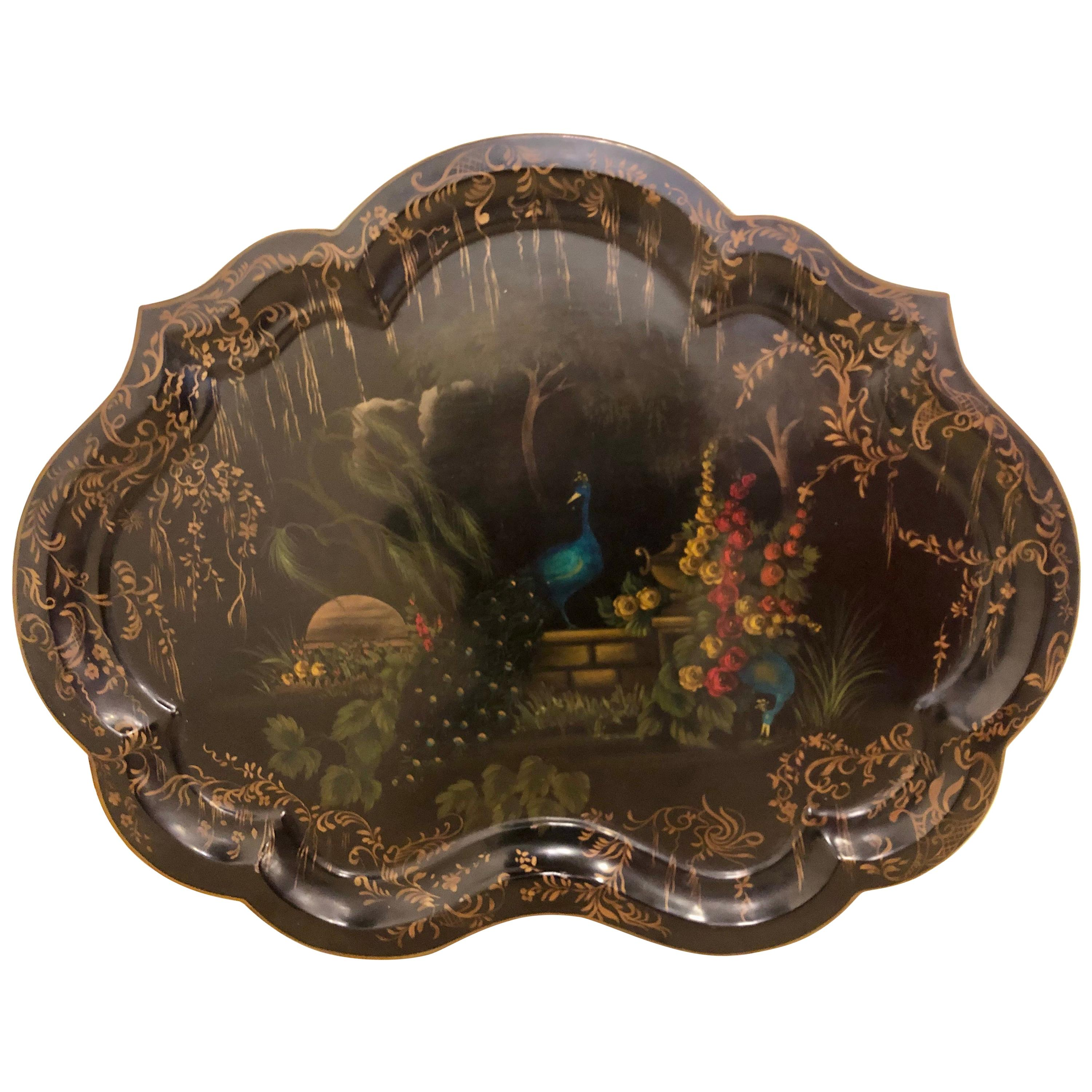 19th Century Hand Painted Tole Serving Tray, Platter