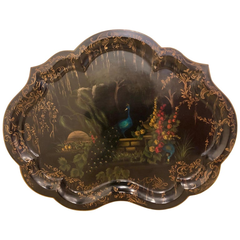 19th Century Hand Painted Tole Serving Tray, Platter For Sale