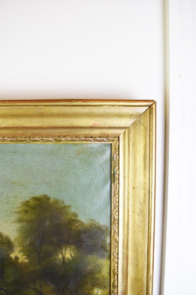 Canvas 19th Century Hand-Painted Trumeau Mirror For Sale