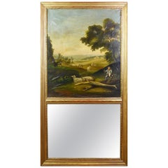 19th Century Hand-Painted Trumeau Mirror