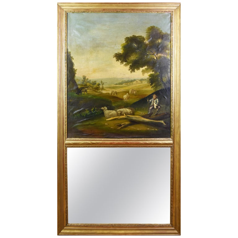 19th Century Hand-Painted Trumeau Mirror For Sale