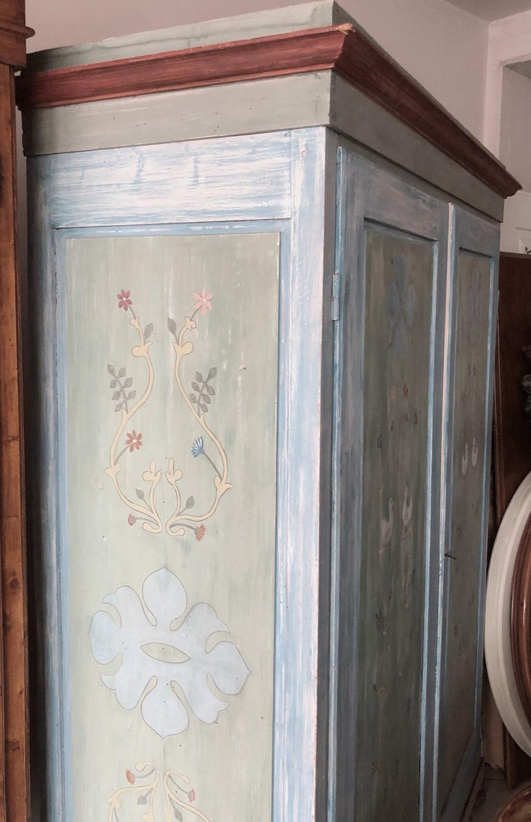 Country 19th Century Hand Painted Tuscan Wardrobe with Two Doors For Sale