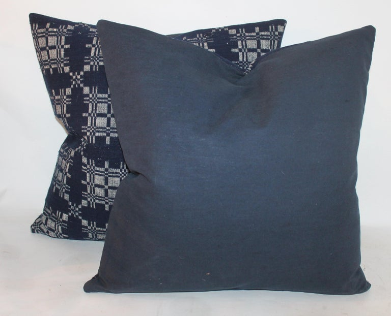 American 19th Century Hand Woven Coverlet Pillows, Pair For Sale