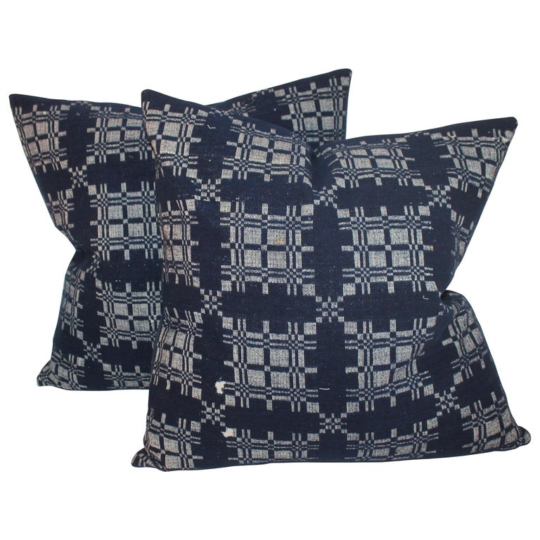 19th Century Hand Woven Coverlet Pillows, Pair For Sale