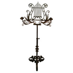 Classical 19th Century Hand Wrought Gilt Iron Music Stand