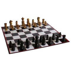 19th Century Handmade Hardwood Chess Set in St. George or Old English Pattern