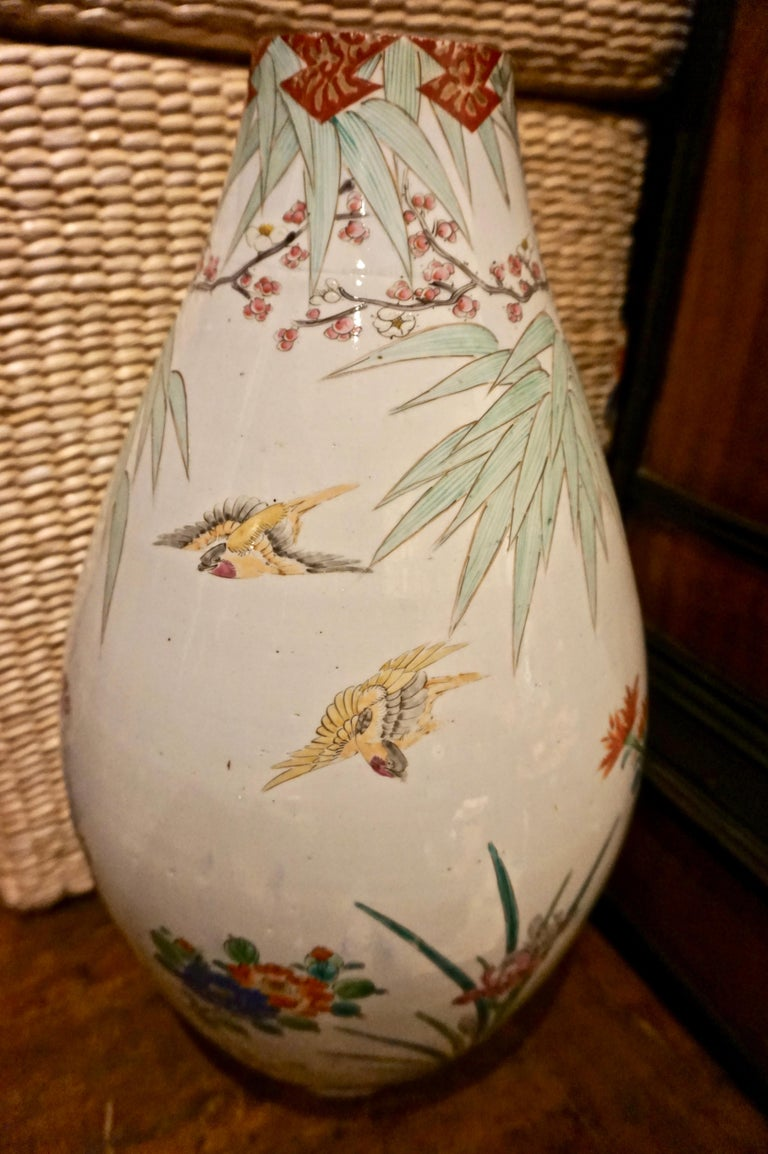 19th Century Handmade Large Japanese Conical Vase with Cranes and Foliage For Sale 3