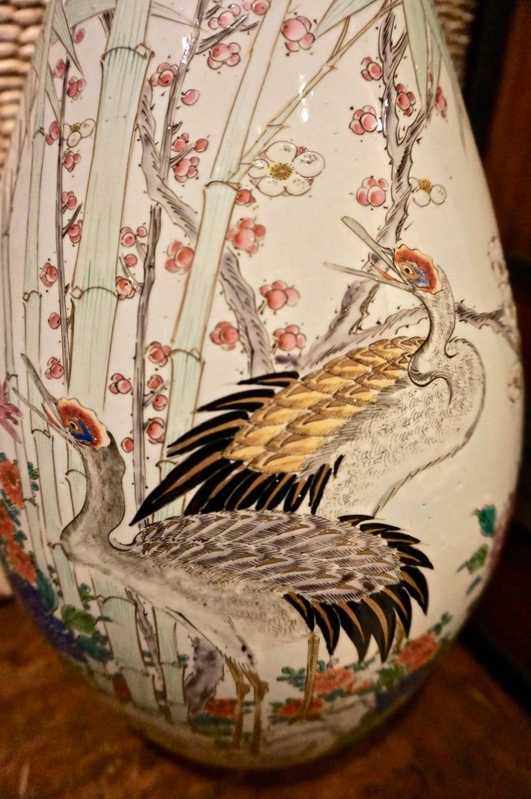 Japonisme 19th Century Handmade Large Japanese Conical Vase with Cranes and Foliage For Sale