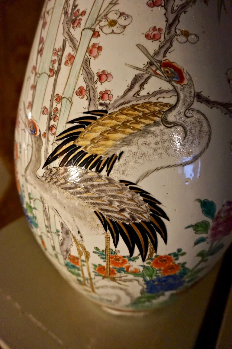 Asian 19th Century Handmade Large Japanese Conical Vase with Cranes and Foliage For Sale