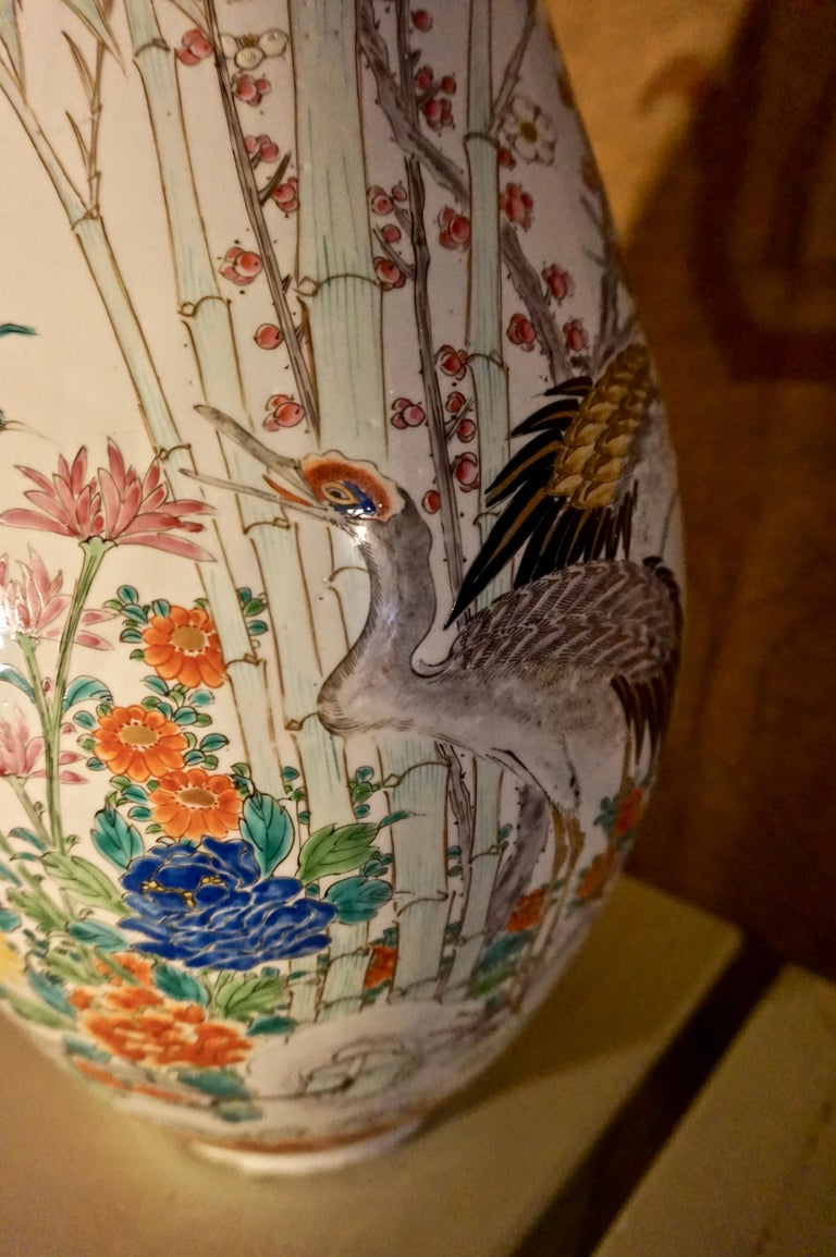 Hand-Painted 19th Century Handmade Large Japanese Conical Vase with Cranes and Foliage For Sale