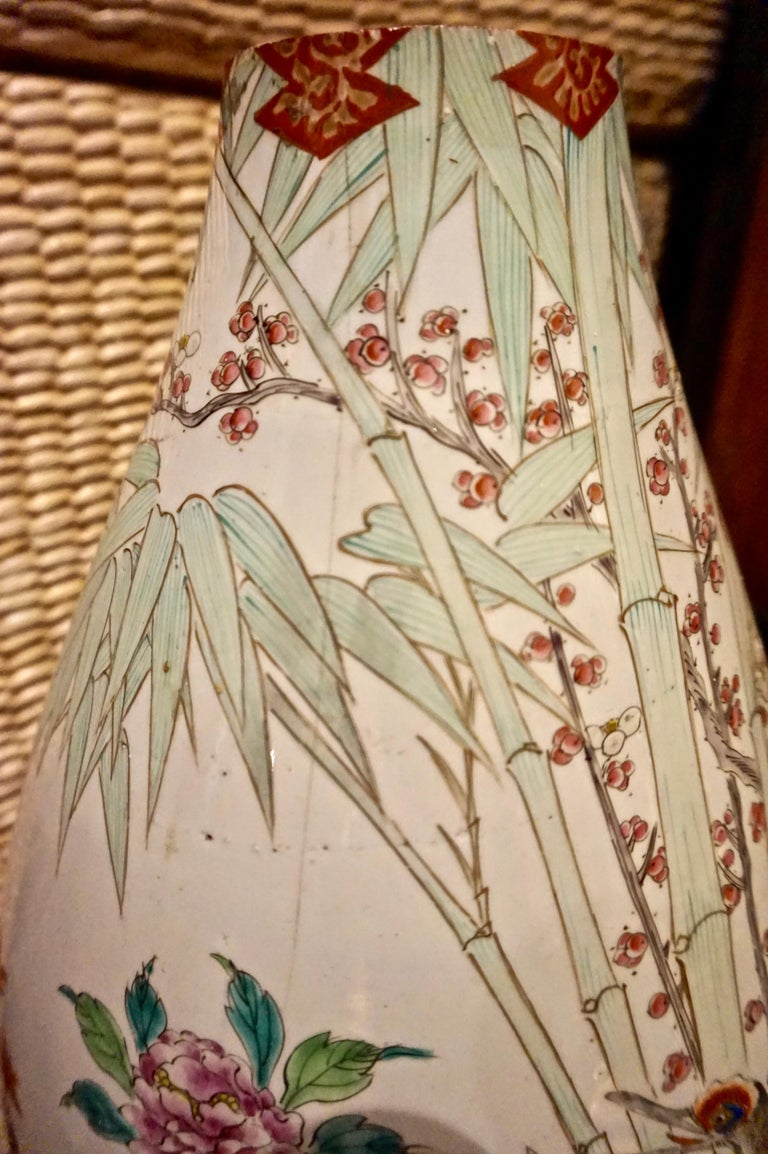 Ceramic 19th Century Handmade Large Japanese Conical Vase with Cranes and Foliage For Sale