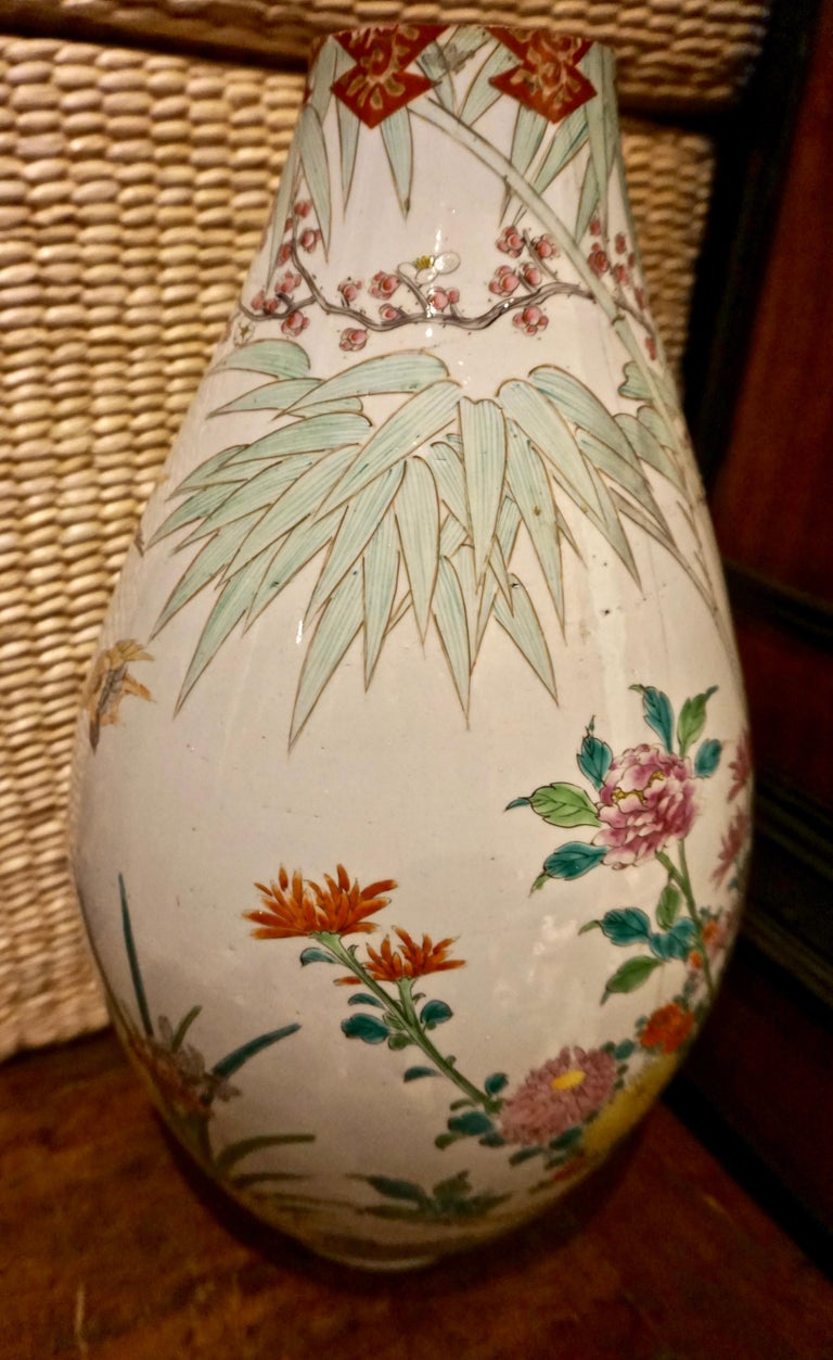 19th Century Handmade Large Japanese Conical Vase with Cranes and Foliage For Sale 2
