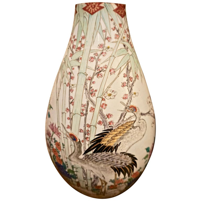 19th Century Handmade Large Japanese Conical Vase with Cranes and Foliage For Sale