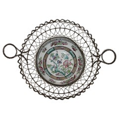 19th Century Handmade Wire Basket from 1870 with a Bowl Inset