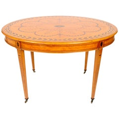 19th Century Hand Painted, Light Satinwood European, Oval Victorian Centre Table