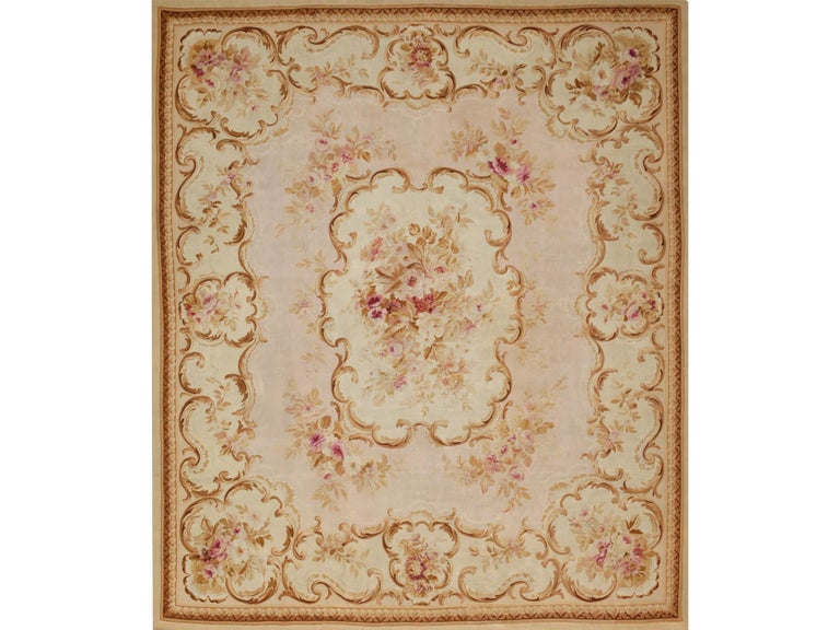 19th Century antique handwoven Aubusson wool rug 420 x 340 cm; 13.8 x 11.2 ft  Boccara Gallery has an important collection of Aubussonrugs from the XVIIIth to the XXth centuries. The style developed inAubussonis recognized today as one of the