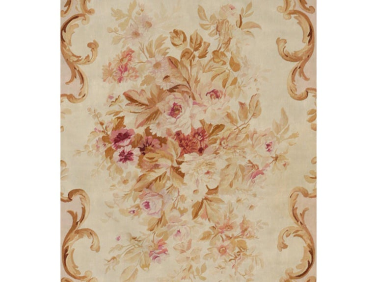 French 19th Century Handwoven Antique Aubusson Rug, floreal white For Sale