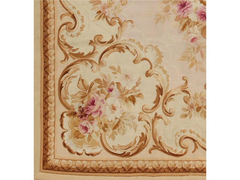 Hand-Woven 19th Century Handwoven Antique Aubusson Rug, floreal white For Sale