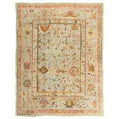 19th Century Handwoven Antique Turkish Oushak Rug