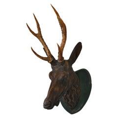 19th Century Head Carved Wood Alpine, Bavaria, Original Version