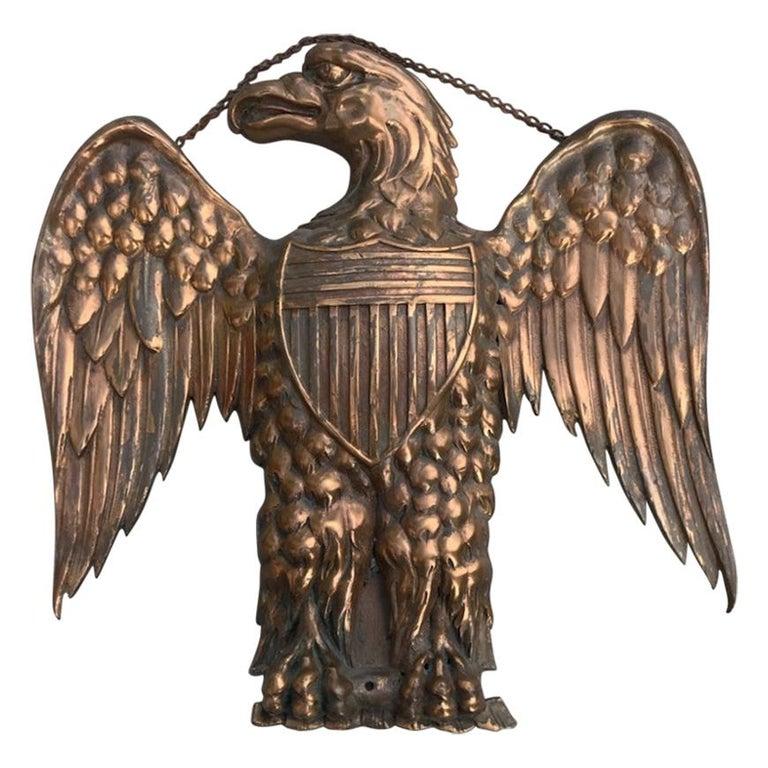 19th Century Heavy Copper Eagle Plaque with Copper Chain For Sale