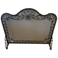 19th Century Heavy Freestanding Handwrought Iron and Honeycomb Fireplace Screen