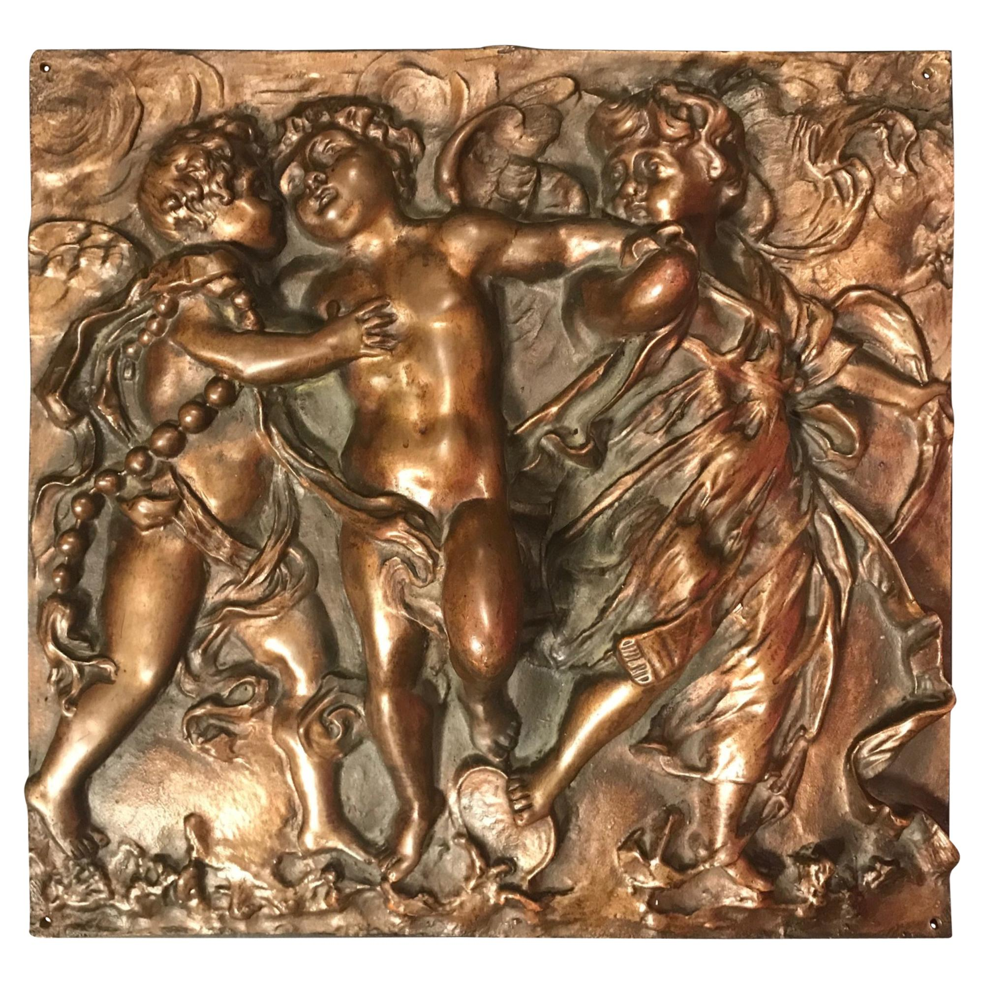 19th Century Heavy French Bronze Relief Plaque of Three Dancing Putti