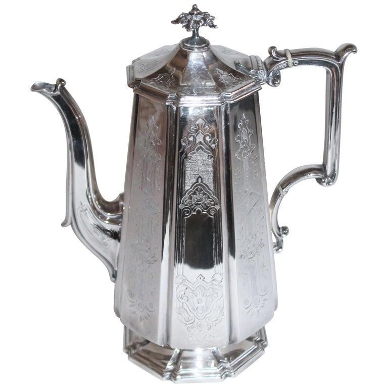 19th Century Heavy Silver Coffee Pot For Sale