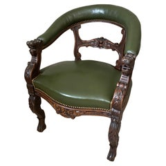 19th century Henri II Style Oak and Leather Desk Armchair, 1890s