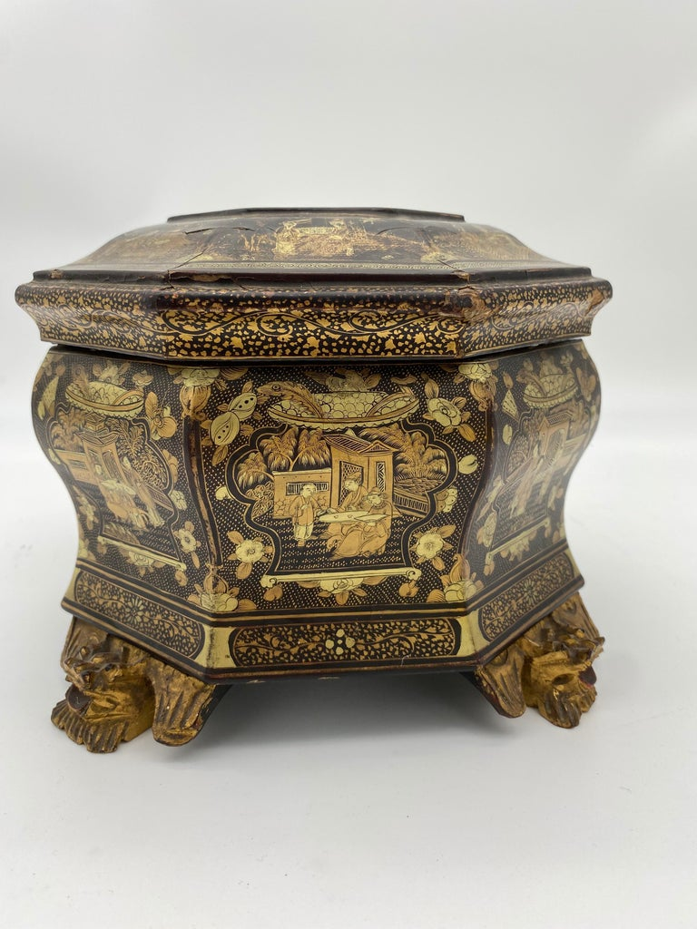19th Century Hexagonal Black Lacquer Chinese Tea Caddy For Sale 1