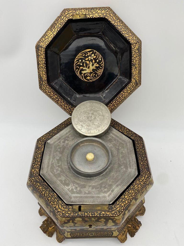 19th Century Hexagonal Black Lacquer Chinese Tea Caddy For Sale 4