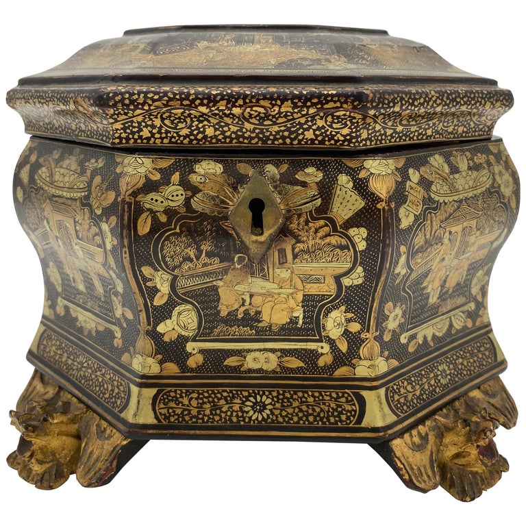19th Century Hexagonal Black Lacquer Chinese Tea Caddy For Sale